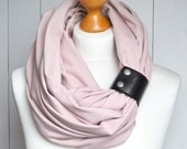 DUSTY PINK Infinity Scarf with leather cuff, nautical fashion scarf,pastel colours infinity scarf with strap, gift ideas, cotton scarf