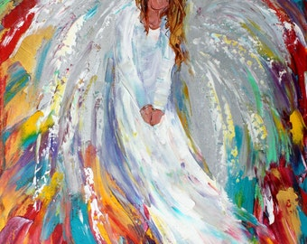 Angel painting original oil on canvas palette knife 12x16 impressionism fine art by Karen Tarlton