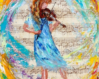 Violinist painting original oil and mixed media on canvas palette knife 12x16 impressionism fine art by Karen Tarlton