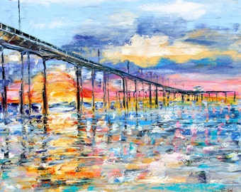 Original oil painting San Diego Sunrise palette knife impressionism on canvas fine art by Karen Tarlton