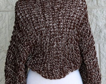 Womens Shrug / Knit  Shrug / Wool Shrug / brown beige tweed sweater /  Womens Sweater /  long sleeved shrug/ Womens Clothing