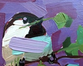 Chickadee no. 881 Original Bird Oil Painting by Angela Moulton 4 x 4 inch on Birch Plywood Panel pre-order