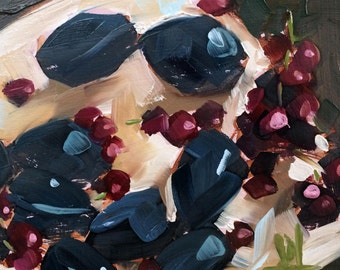 Plums and Grapes Still Life Fruit Original Oil Painting by Angela Moulton 6 x 6 inch on Birch Plywood Panel
