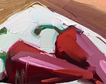 Fresno Peppers Original Still Life Oil Painting by Angela Moulton 4 x 4 inch on Birch Plywood Panel