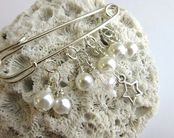 Crystal and Pearl Shawl Pin - Scarf Pin - Sweater Pin - Silver and Pearl Beaded Brooch
