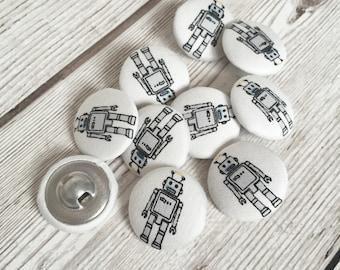 Robot Fabric Buttons