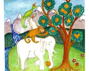 Four Harmonious Animal Friends, Buddhist art Painting, Original one of a kind art, zen decor, feng shui, thangka art