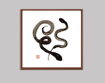 Snake, Year of the Snake, Original Sumi-e Ink Painting for the Chinese New Year Zodiac, zen decor, childs room art, taoist, feng shui, japan