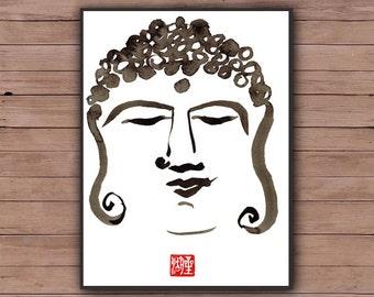 Buddha's Peaceful Face, Original Zen Fine Art Sumi-e Ink Painting, Buddha, zen decor, yoga studio, japanese painting, illustration