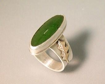 Green Jade Oak Leaf Ring, Sterling Silver 14k Gold, Marquise Cut Jade