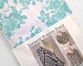 Aqua Floral Infinity Nursing Scarf Knit Scarf Nursing Cover Up Baby Shower Gift Aqua Blue and White