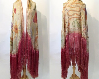 Magnificent 1920's Silk Woven Shawl with Figurative Motif ,Horse, Snake, Deer, Flowers, Long Fringe  Old Hollywood Glamor Boho