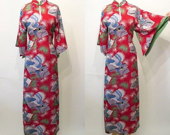 "Gorgeous 1950's Rayon Print Curve Hugging Hawaiian pake muu Dress Asian Imaging ""Malihini"" Tiki Oasis Rockabilly Pinup Pool Party Size-Small"