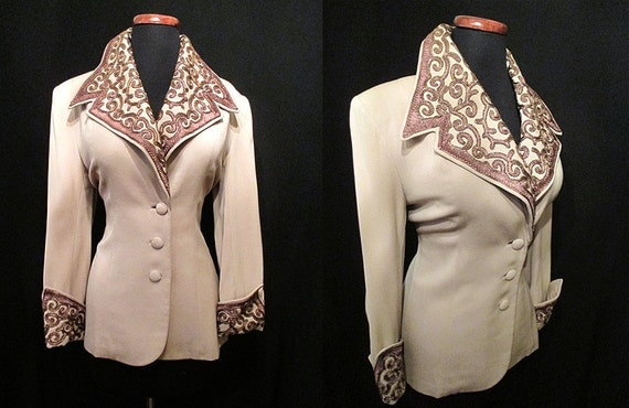 Incredible 1940's Beaded  Cocktail Jacket Old Hollywood Glamour Film Noir Starlet Pinup Girl Rockabilly Chic VLV Size-Large-X-Large