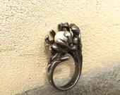 Reserved for Jennifer/Vintage Brutalist Silver and Pearl Ring Artisan Made