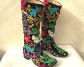 Vintage Embroidered Velour Boots Boho Boots Handmade Moroccan Style Boots ON SALE