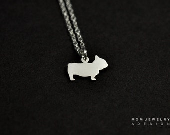 Silver or Gold Little Frenchie Bulldog Necklace