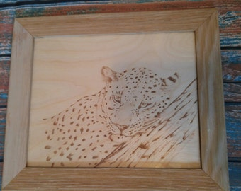 Cheetah Pyrography Art
