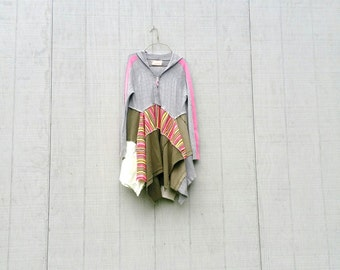 hoodie gray funky stylish lagenlook boho shirt / eco tunic / upcycled clothing / cotton and jersey / casual shirt by CreoleSha