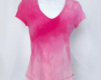 "Pink rose acid washed ""xs"" ladies girls women baby doll Sonoma shirt blouse top bleached acid wash NOT tie dye (shirt no.123)"