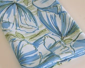 Vintage Sheet Fabric reclaimed bed sheet bed linen fabric Retro spring summer blue Tulips poppies soft percale vintage sheet quilting fabric