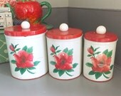 Set of THREE Vintage 1950's Red Hibiscus Tropical Flower Metal Tin Kitchen Canisters