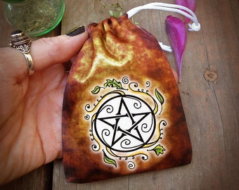 Drawstring Bag for DIY Charm Bag, Swirling Leaves Pentacle, Mojo Bag, Spell Bag, Medicine Bag