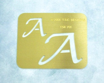 """Brass Stencil / NEW / Initial """"A"""" in 2 Sizes / 2001 TSC Designs / Dry Stylus Embossing / Crafting Supply / Scrapbooking, Cards, Altered Art"""