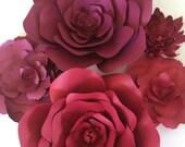 Large paper flowers, marsala paper flower wall, paper flower wall decor, maroon wedding, marsala wedding decor, ready to ship paper flowers