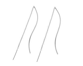 S earrings, Twist pattern, Sterling silver