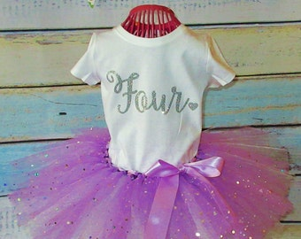 Birthday Tutu Dress OOAK Forth Birthday Tutu Outfit Birthday Tutu Size 4T Ready To Ship