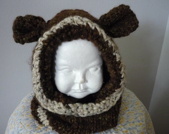 Chunky Bear Hood Animal Hat Child Size 18 months
