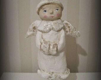 White Christmas  Angel - paper mache - folk art - doll - OOAK