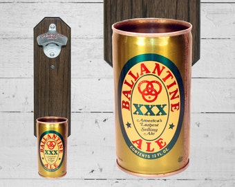 Ballantine Wall Mounted Bottle Opener with Vintage Beer Can Cap Catcher, Gift for Groomsmen