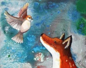 Curiosity - matted fine art print of original acrylic painting - sparrow and red fox