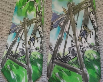 OOAK hand painted silk tie with kids on swings under the birch trees in summer. Gift idea for him with childhood memories.