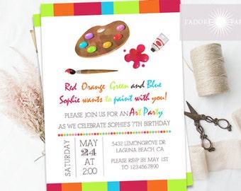 Art Birthday Invitation, Paint Invitation, Printable Art Invitation, Painting Invitation, Art Party, Digital File, Palette, jadorepaperie