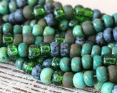 Large 7x5mm Size 32/0  Rustic Aged Seed Beads - Jewelry Making Supply - Turquoise Picasso Green Black Mix - Choose Amount