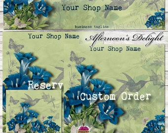 "New Sizes! ""Afternoon's Delight"" Etsy Shop Set one-of-a-kind -- forget me nots, flower, garden, blue, green, moth, hummingbird, banner"