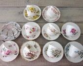 Vintage Mismatched China Teacups and Saucers Set of Ten