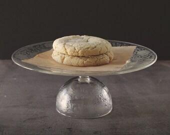 Cake Stand // Vintage Glass // Dessert Pedestal