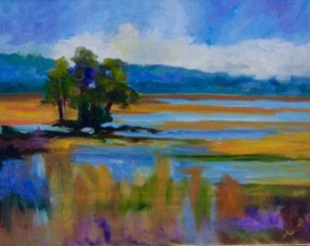 Modern Impressionist Original Oil Landscape of Marsh View by Rebecca Croft