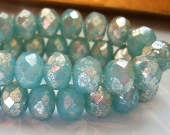 Czech 8x6mm aqua blue opal rondel with silvery finish, bead lot of  (12) beads - GY144