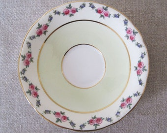 "Aynsley Orphan Saucer 5 1/2 "" Bone China England Flowers Gold Rim Scalloped Edges"