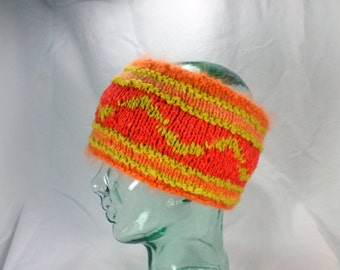 Reversible Orange and Yellow Wool and Angora Headband