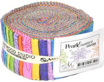 """PEARL ESSENCE Jelly Roll ~ 40 strips ~ 2.5"""" each ~ Quilt Fabric by Maywood Studio"""