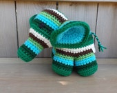 Green and Blue Striped Stuffed Elephant Toy