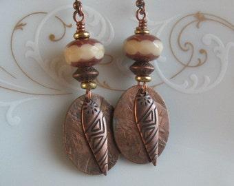 Handmade earrings-dangle earrings-drop earrings-handcrafted earrings-bead earrings copper earrings-jewelry