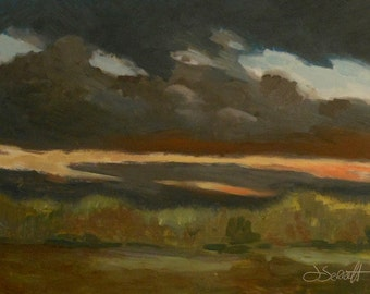 Storm at Sunset_Original Oil Painting_Gold Leaf Wood Frame_ Landscape_ Pochade Box Painting_Alla Prima Study_En Plein Air