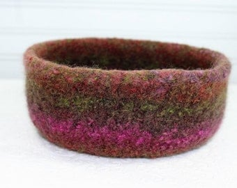 Brown Wool Felted Bowl, Brown, Magenta, Green, Coral Wool Felt Bowl, Knit Felt Wool Bowl, Knit Felted Wool Bowl, Felted Wool Home Decor Bowl